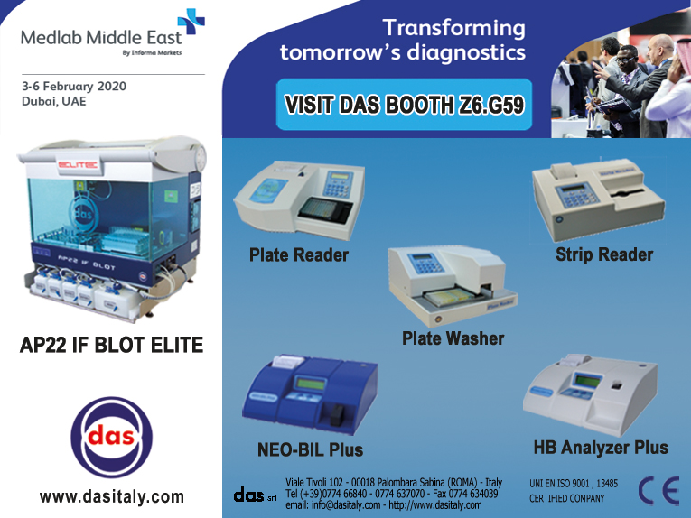 "<h5>DAS exhibits at MEDLAB 2020</h5>  <p>Das will be present at <a class=""event_href"" target=""_blank"" href=""https://www.medlabme.com"">MEDLAB</a> from 3rd to 6th of February 2020, Booth Z6.G59, where will be displayed the instrument <a class=""event_href"" target=""_blank"" href=""http://www.dasitaly.com/NewSite/wordpress/scheda_ap_22_if_blot_elite/"">AP22 IF BLOT ELITE</a> and the Stand Alone instruments line </p>"